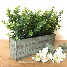 EUCALYPTUS WINDOWSILL POTTED PLANT trough faux artificial Green Leaves FOLIAGE