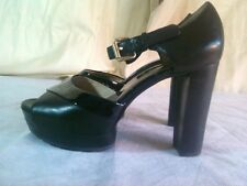 Cute Michael Kors Haven Black Leather Ankle Strap Chunk Heel Platform Size 6 M