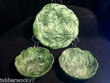 1960's Vintage Italian Green Leaf Majolica Pottery,Plate, 2 Bowls, Made in Italy