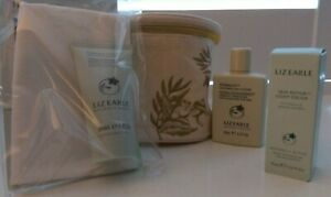Liz Earle Travel Set Cleanse & Polish Muslin Cloth, Eye Lotion, Light Cream, bag