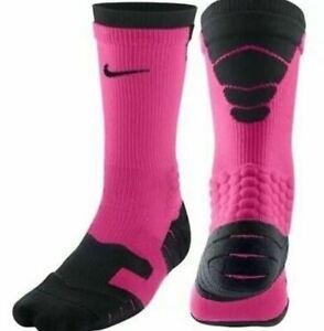 NIKE Elite Vapor Crew Football Socks LARGE (Fits Men 12-15)  PINK Black 4599-680