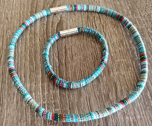 Multicolor Set of Necklace + Bracelet,17''+8''// 2kinds// Handmade by M.Radchik