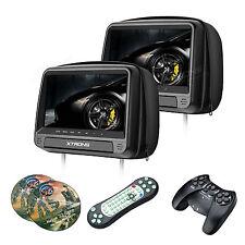 "1 Pair 9"" Black Car Pillow Headrest Monitors Slot DVD Player SD HDMI Kids Games"