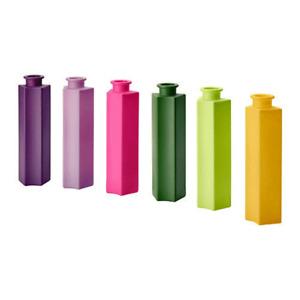 Lot of 6 IKEA Yellow,Green,Purple,light Purple, ForestGreen, Pink, Bottle Vases