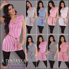 Regular Size Casual Striped Tunic Tops & Blouses for Women