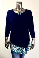 CHICO'S TRAVELER *NWT 3. (XL) NAVY CHIFFON LAYER ASYMMETRICAL TOP $85