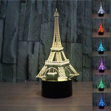 3D Illusion Bulbing Eiffel Tower Lamp Acrylic LED Night Light USB Table Desk Lam