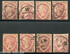 GREAT BRITAIN  THREE HALF PENCE LOT OF EIGHT  USED  SCOTT#32 VARIABLE CONDITION