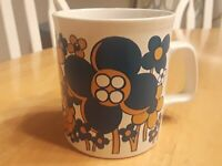 Vintage Floral Soup Coffee Mug 60s 70s Flower Power Tea Cup Cocoa Hippies