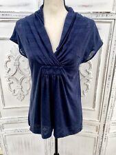 Deletta Anthropologie Size M Textured Navy Blue Knit Tunic Top Surplice Collar