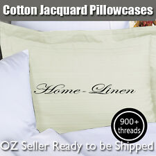 New 900TC Egypt Cotton Patterned Ivory Standard Pillowcases-Striped