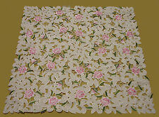 New Embroidered SquareTablecloth Pink Rose Design Cutwork Kitchen Dining M407
