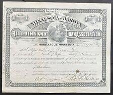 MINNESOTA & DAKOTA BUILDING & LOAN ASSOCIATION Stock 1889 Minneapolis, Minnesota