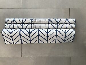 NWT 2 SERENA & LILY Rolls of Feather Wallpaper French Blue Chevron + 1/2 Roll