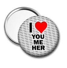 I Love You Me Her Pocket / Handbag Mirror - Gift - Birthday - Stocking Filler