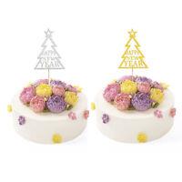20pcs Glitter Christmas Tree Cake Topper Happy New Year Festival Cupcake Picks