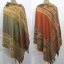 Reversible Indian 100% Wool Winter Woolen Wrap Shawl Scarf Stole Poncho Pashmina