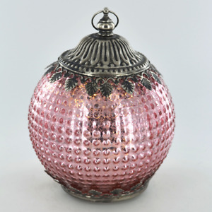 Moroccan Style Pink Patterned Glass LED Lantern Home Decor Gift New & Boxed