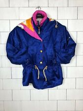 VINTAGE RETRO BRIGHT BOLD SKI STYLE URBAN JACKET COAT WINDBREAKER UK 14 #509