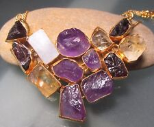 Gold plated brass 41gr rough amethyst/citrine/moonstone/garnet 18-20 necklace