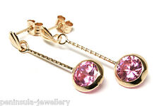 9ct Gold Pink round CZ drop earrings Made in UK Gift Boxed