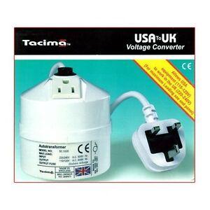Tacima USA To UK Step Down Transformer - 240/120V - 100VA NEW & SEALED Black