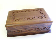 Jewellery Trinket Box Hand Carved Wood Floral Border Secret Locking Momento Box