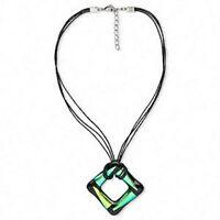 Dichroic Glass Necklace 18 Inch Genuine Hand Crafted Aqua Black Pendant