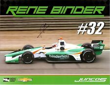 2018 RENE BINDER signed INDIANAPOLIS 500 HERO PHOTO CARD INDY CAR CHEVY RACING
