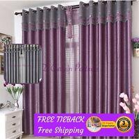 Blockout Valance Bedroom Curtain Purple Grey Gray Fabric Drapes Sheer Eyelet Rod