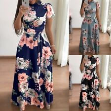 Women Boho Floral Strappy Maxi Dresses Lady Summer Holiday Party Evening Dress