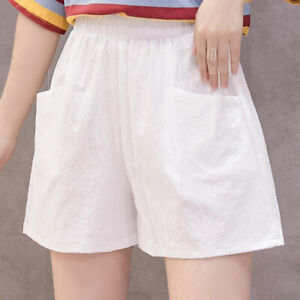 Women Casual Elastic Waisted Shorts Plain Pockets Summer Short Hot Pants Bottoms