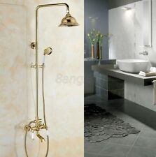 Polished Gold Brass Wall Mounted Rain Shower Faucet Set Bathtub Mixer Tap 8gf376