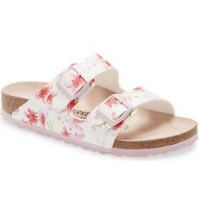 Birkenstock Arizona Slide Sandals Cherry Blossom Floral Pink/White Sz 40 NEW