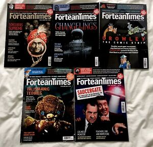 FORTEAN TIMES 2016-2018 MAGAZINE BUNDLE X5 Aleister Crowley, Changelings etc