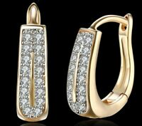 18k Gold Plated Double Row 15mm Huggie Earring made with Swarovski Crystal ITALY