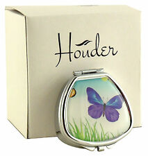 Cute Pill Box For Purse Decorative Vitamin Case Mint Holder Blue Butterfly Metal