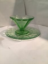 Vintage: Depression Era Sorbet/Ice Cream Glass Dish & Plate - Depression Green