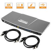 TESmart 4-Port KVM Switch HDMI Switcher 4K@30Hz EDID Control By IR Hot Key