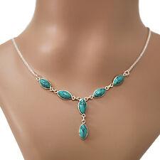 Türkis- Collier, Kette,SILBER-925 Sterlingsilber, Indien Halskette Damen ts