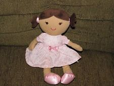Carters just one you brunette leopard dress doll Plush toy lovey Girl rattle