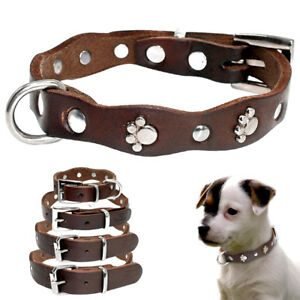 Brown Real Leather Dog Collar with Metal Paw Print Studded for Pet Puppy Wakking