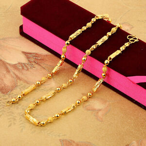 Lady's  22K 23K24K Thai Baht Yellow Gold GP Filled Necklace 24 inch 6 mm Jewelry