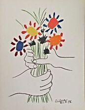 """Pablo Picasso  """"Le Bouquet De Fleurs"""" 1958 Art Lithograph Hand Signed in Plate"""