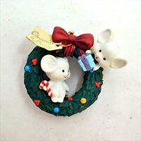 Vintage Lustre Fame Mice Wreath Ornament Christmas Is Sharing 1992 No Box