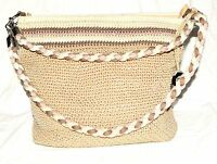 The Sak Beige with Striped Top Crochet Shoulder Bag Converts To Crossbody Bag