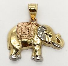 14K Solid Multi Color Gold Elephant Charm Pendant 23 MM Men's, Women's