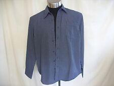 "Camisa para hombre Simon Clark M Azul Marino/Rayas Cuello 17"" longitud 30"" de bolsillo 0477"
