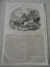 1844  Le Mont Sinaï et couvent Ste Catherine Gravure Article de presse