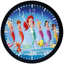 Little Mermaid Ariel Black Frame Wall Clock Nice For Decor or Gifts Y58